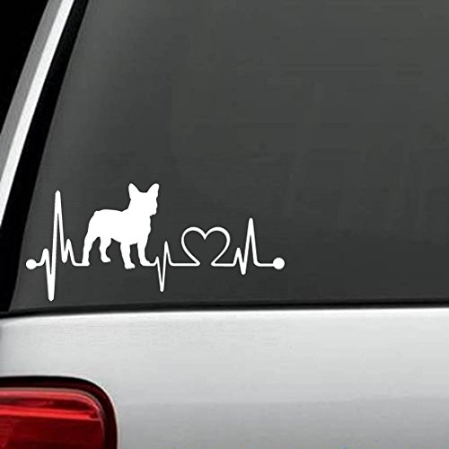 Bulldogs Heart (K1028 French Bulldog Heartbeat Lifeline Monitor Dog Decal Sticker …)