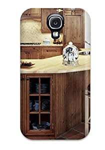 Galaxy S4 Case, Premium Protective Case With Awesome Look - Raised Wood Open Corner Kitchen With Island Cabinet