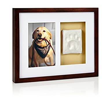 Pearhead Dog Or Cat Paw Prints Pet Wall Frame With Clay Imprint Kit, Perfect Pet Keepsake Espresso