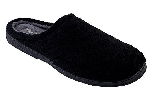 J. Fiallo Mens New Terry, Plush and Relaxing Slip-on Clog Slippers In 3 Cool Two Tone Colors (Medium / 8.5 - 9.5, - Black J Men In