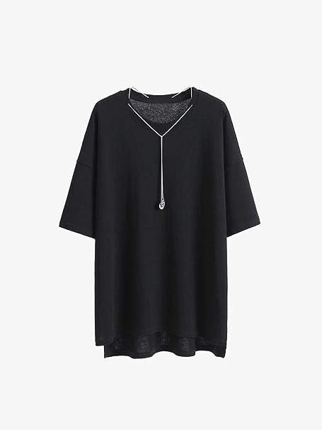 S&RL Camiseta Negra de Manga Corta Hembra Floja Coreana Larga ...
