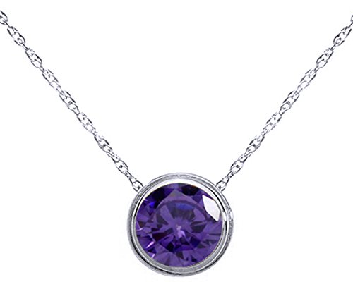 Wishrocks Round Cut Solitaire Pendant Necklace in 14K White Gold Over Sterling Silver ()