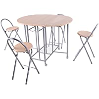 Giantex 5PC Foldable Dining Set Table and 4 Chairs Breakfast Kitchen Furniture