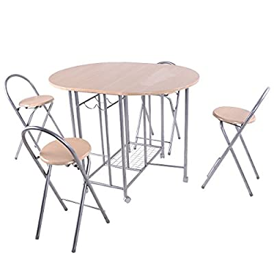 Giantex 5PC Foldable Dining Set with Shelf Storage and Wine Rack, 4 Chairs and Table Set with Wood Top and Metal Frame for Apartment and Kitchen Home Furniture - Foldable Tabletop Design-- The two side of the tabletop of this chair is foldable, which is creative and flexible for daily usage. When it is used for normal breakfast, the middle square part is enough, but if there are guests, you could unfold the two sides part and turn it into big table for use. Sturdy Reinforced Steel Frame-- This Giantex chair and table set follows the scientific principle, and has tough steel pipe frame, which makes the mental frame is more solid and safe to use. Easy to Install and Good Capacity-- This table and chair set has 4 chairs included, easy to install. And two shelves for wine and one shelve under the table could other things. - kitchen-dining-room-furniture, kitchen-dining-room, dining-sets - 41T9kQGLCAL. SS400  -