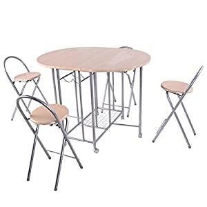 Giantex 5PC Foldable Dining Set Table And 4 Chairs Breakfast Kit