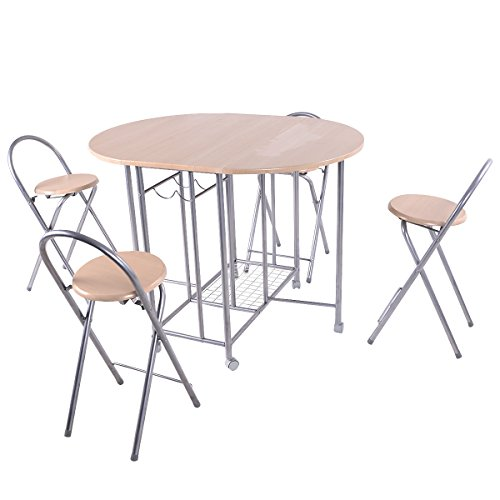 Giantex 5PC Foldable Dining Set Table and 4 Chairs Breakfast Kitchen Furniture (Chairs Breakfast)