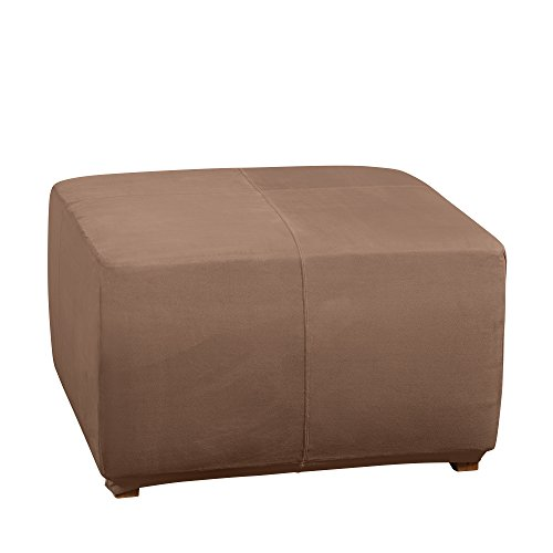 Sure Fit Ultimate Heavyweight Stretch Suede Ottoman Cover (Luggage) (Sure Fit Sofa Soft Suede)