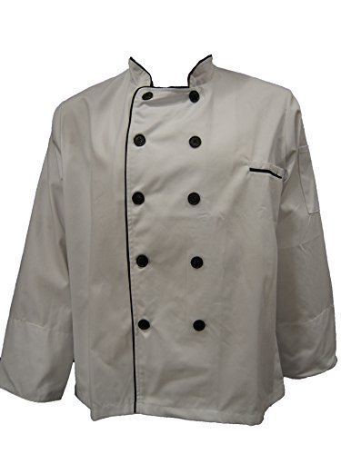White Chef Jacket with Black Lining (Long Sleeves) Size 46, 2X-Large