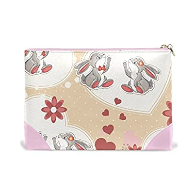 b09abc91ee Women Makeup Bag Cute Rabbit Genuine Leather Zipper Cosmetics Pouch Lady  Toiletry Bag on sale