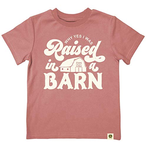 John Deere Do Good Today Youth Raised in A Barn Ss Tee-Dark Rose-3t (Made John Deere In)