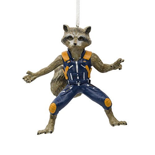 Hallmark Marvel Guardians of The Galaxy Rocket Raccoon Christmas Ornaments, Rocket Raccoon, Rocket Raccoon (Bradley Cooper Christmas)
