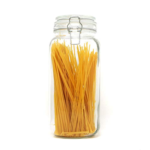 (2.2L Clip Top Spaghetti Storage Jar | Round Glass Airtight Vintage Tall Container | Pasta & Cereal Jar | Dry Food Containers | M&W)