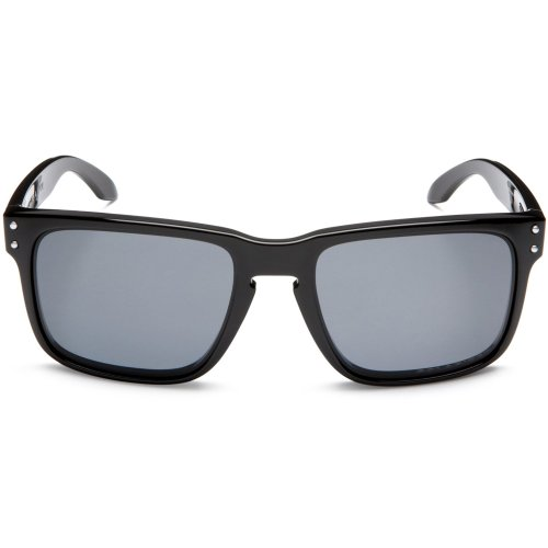 Oakley Men's OO9102 Holbrook Square Sunglasses, Polished Black/Grey Polarized, 55 mm