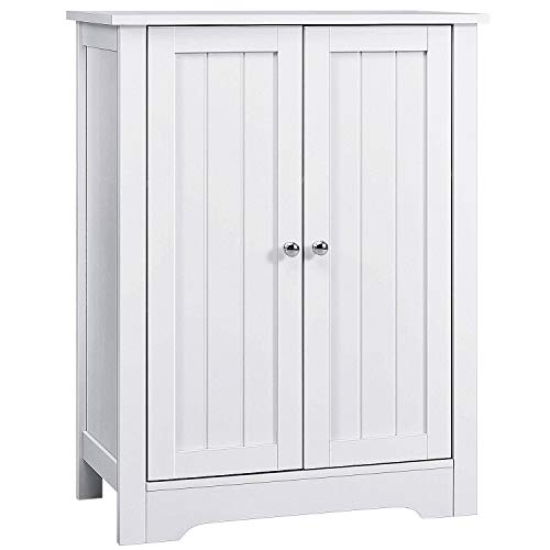 "AOOU Bathroom Floor Cabinet, 32"" Wooden Freestanding Storage Cabinet with Double Door and Adjustable Shelf, Anti-toppling Side Cabinet for Laundry, Entryway, 31.5 x 23.6 x 11.8 inches, White"