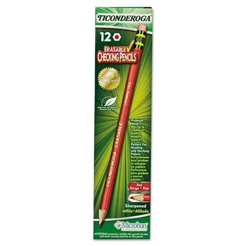 Ticonderoga 14259 Ticonderoga Erasable Colored Pencils, 2.6 mm, CME Lead/Barrel, Dozen Dixon Erasable Colored Pencils