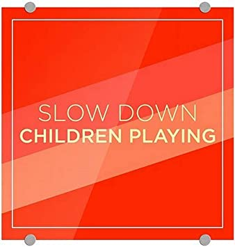 Slow Down Children Playing CGSignLab Modern Diagonal Premium Acrylic Sign 5-Pack 16x16