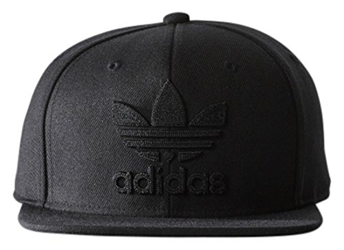 Fitted Flat Brim Cap - adidas Men's Originals Snapback Flatbrim Cap, black/black, One Size