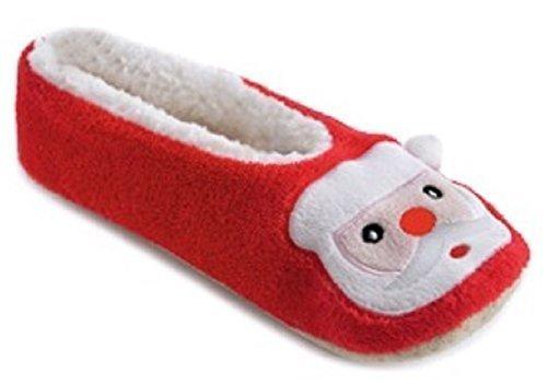 Las Señoras De Diseño De Navidad Paño Grueso Y Suave Forrado Zapatillas De Ballet ~ Santa O Reno Santa