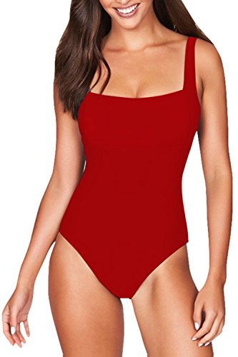 Pink Queen Women's Square Neck Push up Pad One-Piece Swimwear Monokini XL Red