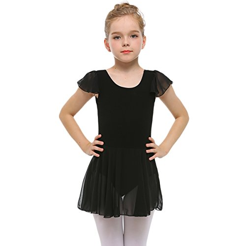 STELLE Girls' Ruffle Short Sleeve Tutu Skirted Ballet Leotard for Dance, Ballet (85cm, Black)