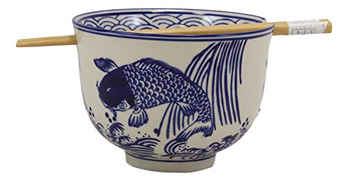 Ebros Ming Style Zen Blue White Koi Fishes By Waterfall Ramen Udong Noodles 5