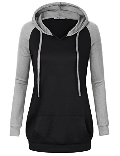 Cestyle Tunic Sweatshirts For Women, Sportwear Raglan Sleeve Vnceck Long Hoodies Cotton-Blend Patchwork Waistband Hem Hooded Pullover Sweater Loose Comfy Knit Active Shirts With Pocket Black X-Large