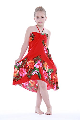 Girl Hawaiian Butterfly Dress in Red Floral Size ()