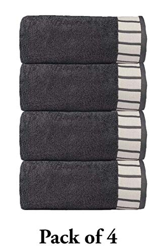 TRIDENT His & Her Premium 550 GSM 4 Pack Cotton Bath Towel Set – Grey
