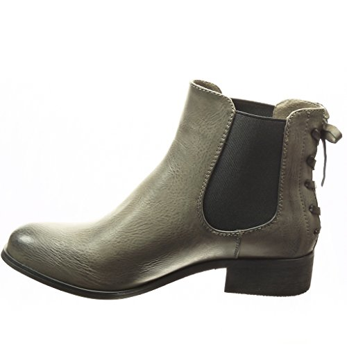 Angkorly - Zapatillas de Moda Botines chelsea boots mujer nodo cordones Talón Tacón ancho 3 CM - plantilla Forrada de Piel - Gris