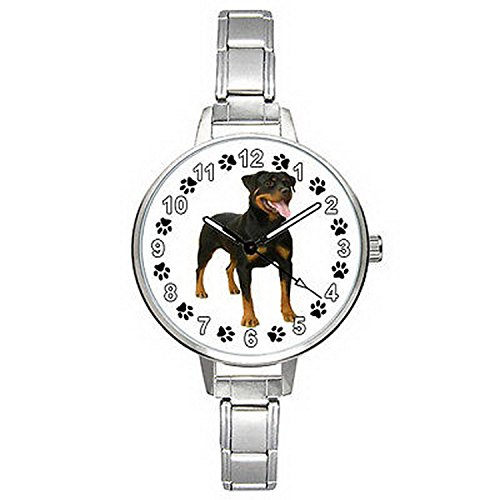 BMTC481 Rottweiler Dog Stainless Steel Italian Charm Band Mens Ladies Wrist Watch (Italian Charm Display)