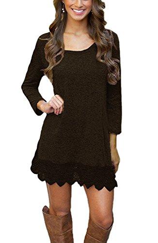 MiYang Women's Long Sleeve A-line Lace Stitching Trim Casual Dress XL Brown
