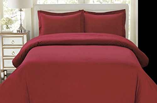Hotel Luxury 3pc Duvet Cover Set-ON SALE TODAY-1500 Thread Count Egyptian Quality Ultra Silky Soft Top Quality Premium Bedding Collection, 100% -King Size Burgundy (Red Quilt Cover Sets)