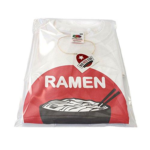 NUOVO - RAMEN Tagliatelle Giapponesi - Uomo T-Shirt Cotone Bianco - Alta Qualità Regalo Compleanno (Medium)