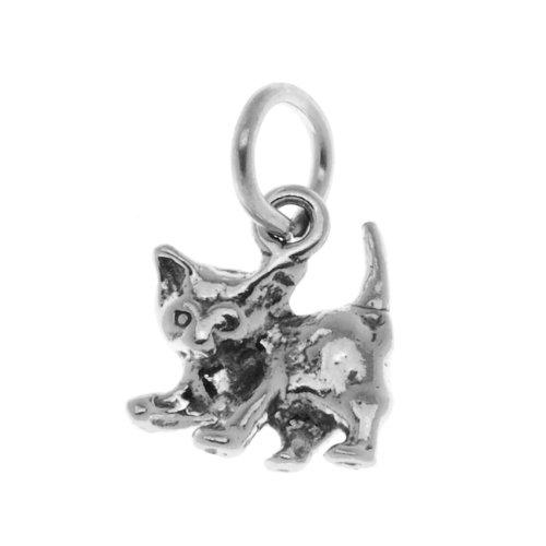 Beadaholique Sterling Silver Cat Charm Cute Little Playful Kitten 11mm (1)