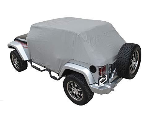 (Rampage Products 1164 Waterproof Cab Cover with Door Flaps for 2007-2018 Jeep Wrangler JK Unlimited 4-Door, Grey)