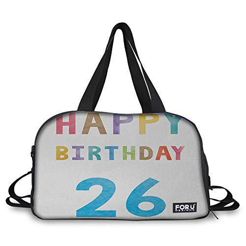 26th Birthday Mens duffle bag Soft Pastel Toned Colorful Typography Design Celebration Event Sign Pattern Weekender Overnight Carryon Hand Bag Multicolor