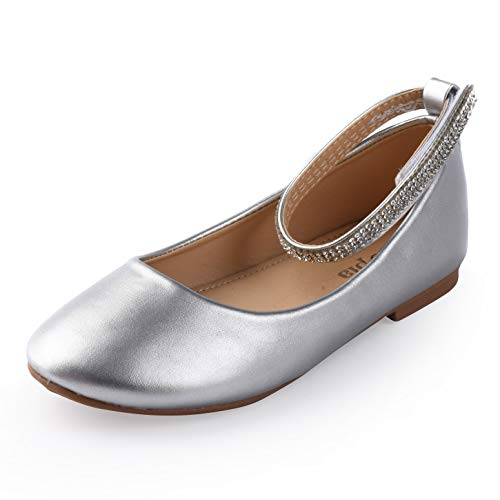 Nova Utopia Toddler Little Girls Dress Ballet Ankle Strap Flat Shoes,NF Utopia Girl NFGF317 Silver 10 -