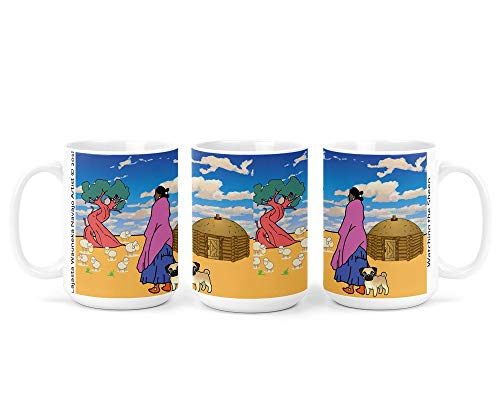 Watching the Sheep Navajo Art on 15 Ounce White Coffee Mug