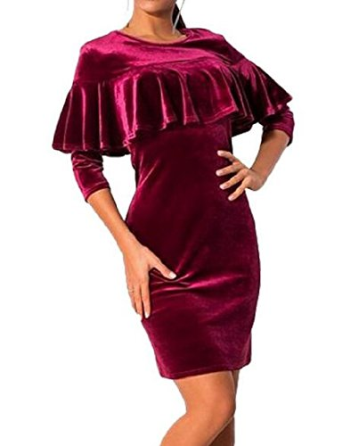Bodycon Gold Red Waist Women Colored Coolred Dress Velvet Mantle Solid CqH5tw