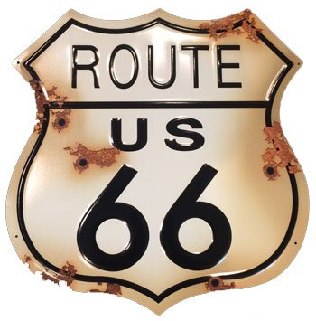 Route 66 Rustic Shield Sign