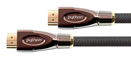 PYTHON Series PREMIUM High-Speed-HDMI Anschlusskabel mit Ethernet - 4K2K / UHD / Ultra HD / Full HD - Kupferleiter (OFC), 3D-Unterstützung, Dreifachschirmung, Nylongeflecht - schwarz, 3 m