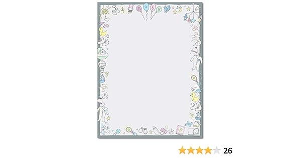 Gender Neutral Baby Shower Border Stationery Paper 80 Sheets