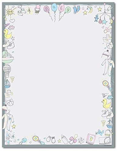 Baby Time Stationery Paper - 80 Sheets - Great for Baby Showers and Birth Announcements