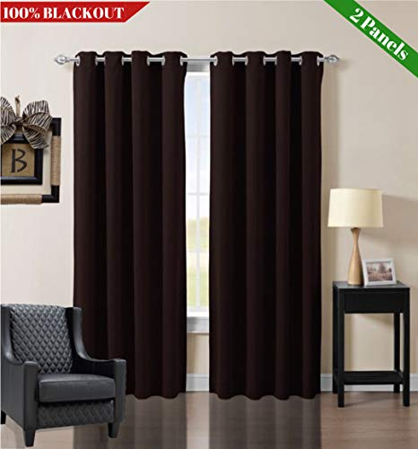 Ocean Lifestyle 100% Blackout Curtains for Windows and Doors, Solid Silver Steel Grommet, Best Drapes for Bedroom, Living Room, French Door Curtain, Sliding Glass Door Curtains, 52 x 95 2 Brown Panel - One Solid Door