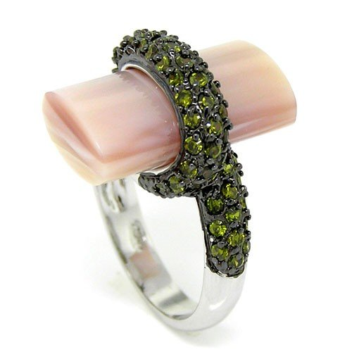 Jewel Box Large Cocktail Ring w/Pink Mother of Pearl & Olivine CZs, (Olivine Jewel)