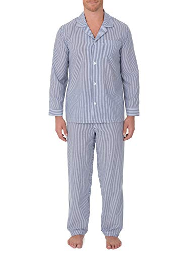 (Geoffrey Beene Men's Broadcloth Long Sleeve Pajama Set, Navy/White Stripe, Large)