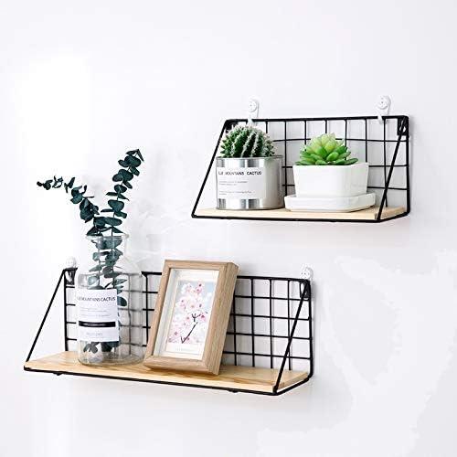 Estante de pared de metal industrial y madera Easy Chic color negro y blanco natural madera Small 29cm Blanco