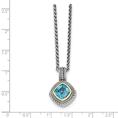 ICE CARATS 925 Sterling Silver 14k London Blue Topaz Chain Necklace Gemstone by ICE CARATS (Image #3)