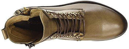 Inuovo PUNK - botas de combate de cuero mujer verde - Grün (VISONE)