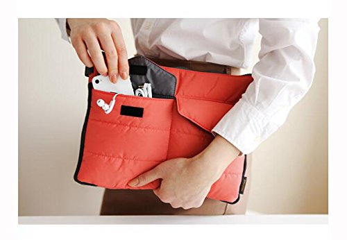 Travel Organiser Pouch Bag for Tablet or Computer with multiple compartments - for bag in bag, toiletries, makeup, tablets etc (Red) by Q4Travel (Image #4)